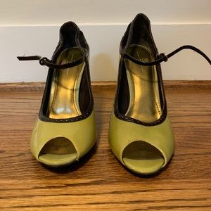 Paolo Shoes - Green and brown peep toe heels